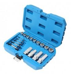 Ekstarktoriai, galvutės išsukėjai, smeigių išsukėjų rinkinys, М3-М18, 18d., 6,8,10,12mm