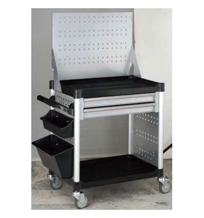 Vežimėlis diagnostinei įrangai, bėgeliai su guoliais, 2 lentynos, 2 stalčiai