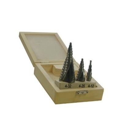 Grąžtų pakopinių rinkinys, 3d., HSS, 15pak. 9pak. 5pak., 2mm