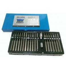 Bits Set, 40d., 10mm, ilgų trumpų, Hex Spline Star, metalinė dėžutė