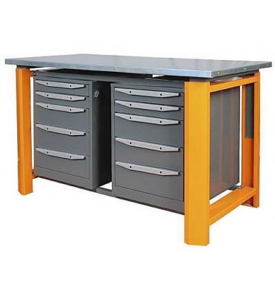 Darbastalis su reguliuojamu anksčiu, metalinis stalviršis, 2 spintelės, 5 stalčiai