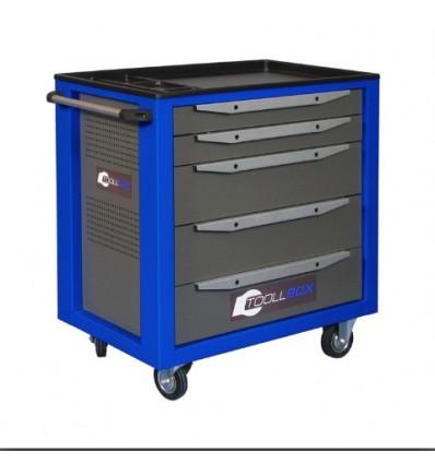 Įrankių vežimėlis mėlynas, bėgeliai su guoliais, 5 stalčiai