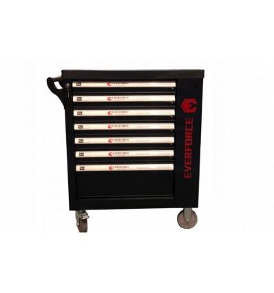 Įrankių vežimėlis, 250d., su įrankiais, bėgeliai su guoliais, 7 stalčiai