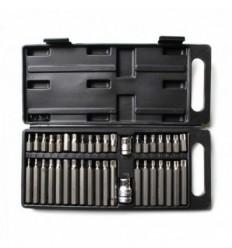 Bits Set, 40d., 10mm, 3/8`, 1/2`, ilgų trumpų, Hex Spline Star, plastikinė dėžutė