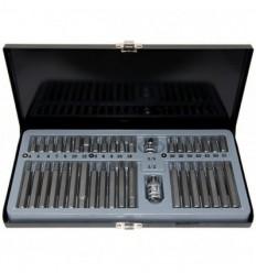 Antgalių rinkinys, 40d., 10mm, 3/8`, 1/2`, ilgų trumpų, Hex Spline Star, metalinė dėžutė